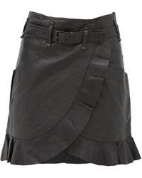 Étoile Isabel Marant Mini-jupe portefeuille en cuir à volants Qing - Noir