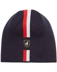 Toni Sailer Leon Jacquard-striped Wool-blend Beanie Hat - Blue