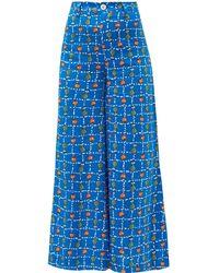 STAUD Plum Vegetable Print Linen Wide Leg Pants - Blue