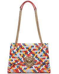 Dolce & Gabbana デヴォーション メッシュレザーショルダーバッグ - レッド