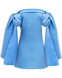 BERNADETTE Timothy Off-the-shoulder Taffeta Mini Dress - Blue