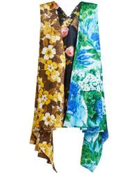 Richard Quinn - Floral-print Draped Duchess Satin Dress - Lyst