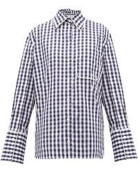 JW Anderson Scarf-collar Gingham Cotton Shirt - Blue