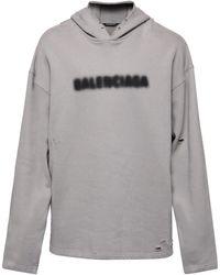 Balenciaga Blurred-print Cotton-jersey Hooded Sweatshirt - Grey