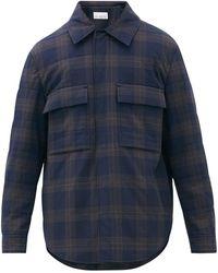 Raey Checked Seersucker Wadded Overshirt - Blue