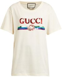 Gucci Oversize T-shirt With Sequin Logo - White