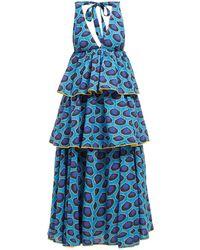RHODE Leela Tiered Abstract-print Cotton Midi Dress - Blue