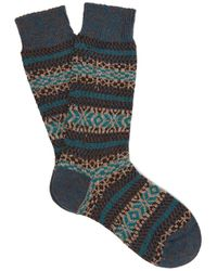 Pantherella Scott Nichol Farne Fair Isle-patterned Socks - Blue