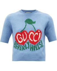 Gucci Beverly Hills Logo-intarsia Wool Jumper - Multicolour