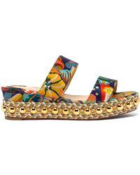 Christian Louboutin - Janitag 60 Floral Print Satin Flatform Sandals - Lyst