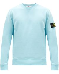 Stone Island Sweat-shirt en jersey de coton à empiècement logo - Bleu