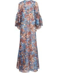 Biyan ガリー フローラル シルクマキシドレス - ブルー