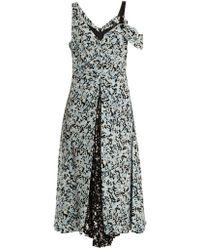 Proenza Schouler Abstract Print Silk Crepe De Chine Dress - Blue