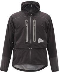 and wander 2.5 Reflective Waterproof Hooded Jacket - Black