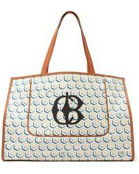 CONNOLLY Hexagonal-print Leather-trim Canvas Tote Bag - Blue