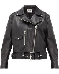 Acne Studios New Meryln Leather Biker Jacket - Black