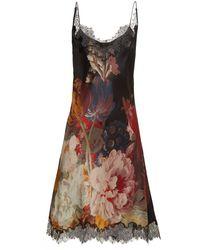 eb2b30a53d7 On sale Carine Gilson - Lace Trimmed Silk Satin Slip Dress - Lyst