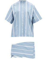 Jil Sander Mandarin-collar Striped Cotton-poplin Pajamas - Blue