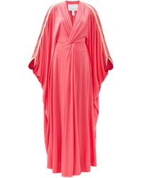 Hester Bly The Margot Metallic-stripe Kaftan Maxi Dress - Red