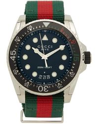 Gucci Dive Web-striped Stainless-steel Watch - Multicolour