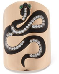 Diane Kordas Snake Diamond, Tsavorite & 18kt Rose-gold Ring - Metallic