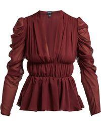 Giambattista Valli - Gathered Silk Chiffon Blouse - Lyst