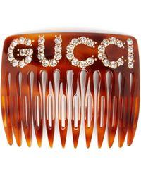 Gucci Barrette à logo en cristaux - Multicolore