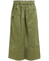 Sea Patch-pocket Cotton-blend Midi Skirt - Green