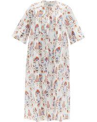 Evi Grintela Pintucked Floral-print Cotton Midi Dress - White