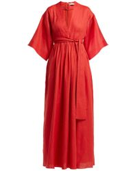 Three Graces London Ferrers Belted Linen Dress - Red