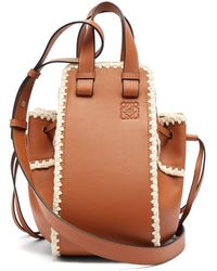 Loewe Hammock Small Crochet-trimmed Leather Bag - Brown