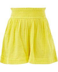 Anaak Adrian Elasticated-waist Cotton Shorts - Yellow
