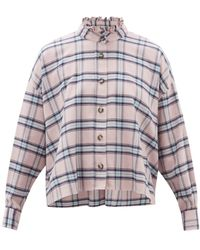 Étoile Isabel Marant Ilaria Ruffled Checked Cotton Shirt - Pink