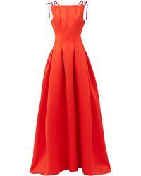 Maison Rabih Kayrouz High-neck Pleated Faille Gown - Red