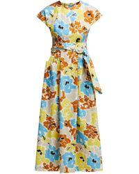 Isa Arfen Robe en coton à imprimé floral - Bleu