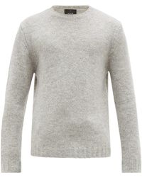 Allude Round Neck Knitted Sweater - Gray