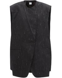 Vetements ラメピンストライプ ウールブレンドミニドレス - ブラック
