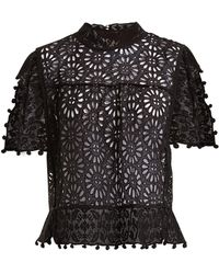 Isabel Marant - Kery Broderie-anglaise Pompom-trimmed Top - Lyst