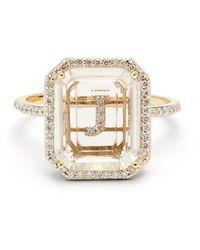 Mateo Bague or 14 carats, diamants, quartz Initials J-Q - Multicolore