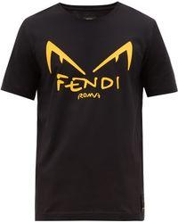 Fendi T-Shirt En Jersey De Coton Imprimé Caoutchouté - Noir