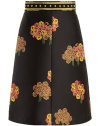 RED Valentino - Floral-brocade A-line Midi Skirt - Lyst