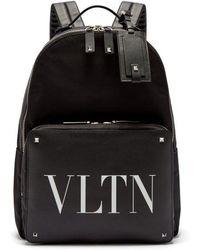 Valentino - Vltn Logo-print Leather-panelled Backpack - Lyst