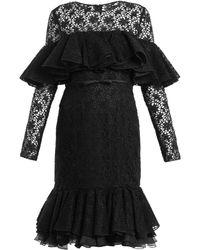 Giambattista Valli - Layered Ruffled Cotton Blend Macramé Lace Dress - Lyst