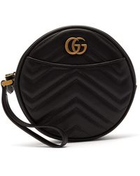 Gucci Gg Marmont Circular Leather Wristlet Pouch - Black