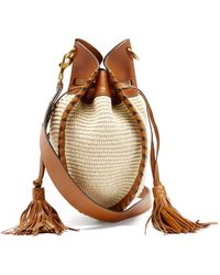 Isabel Marant Radja Raffia And Leather Cross-body Bag - Brown