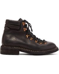 Guidi Grained-leather Hiking Boots - Black