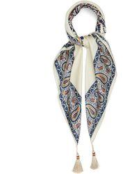 Etro Paisley-print Tasselled Silk-satin Scarf - Blue