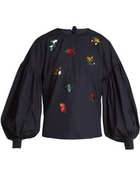MUVEIL - Tie-back Embellished Cotton-poplin Top - Lyst