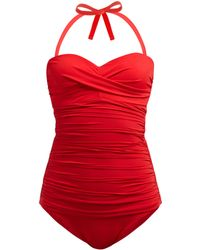 Heidi Klein Body Ruched Control Swimsuit - Red