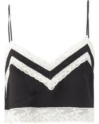 Miu Miu Lace-trimmed Silk Crop Top - Black